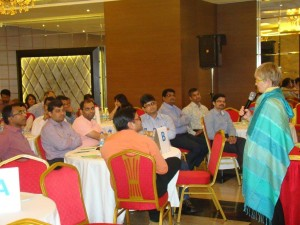 Sara presenting Sign of Enough to a group of Johnson & Johnson managers in Mumbai, India.
